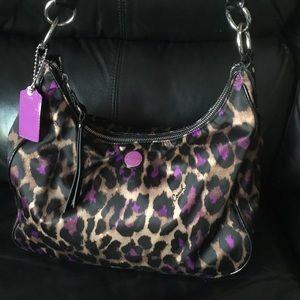 Coach Cheetah Print & Purple Shoulder Bag Purse